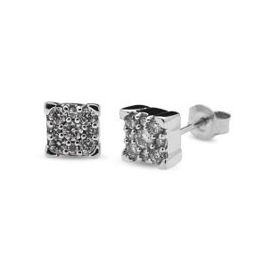 Pendientes oro blanco y diamantes 0,15 quilates