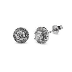 Pendientes oro blanco y diamantes 0,30 quilates