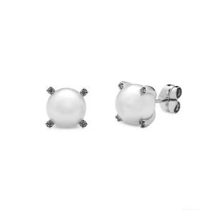 Pendientes oro blanco, perla 8 mm y diamantes