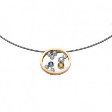 Colgantes y Collares Colgante de oro blanco y amarillo con diamantes, topacio y zafiro