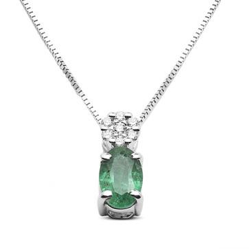 Colgantes y Collares Colgante de oro blanco con esmeralda y diamantes