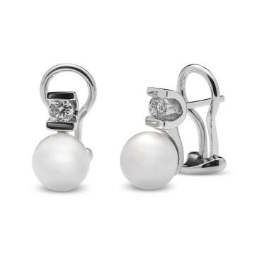 Pendientes Pendientes perla cultivada y dos diamantes 0,35 Ctes