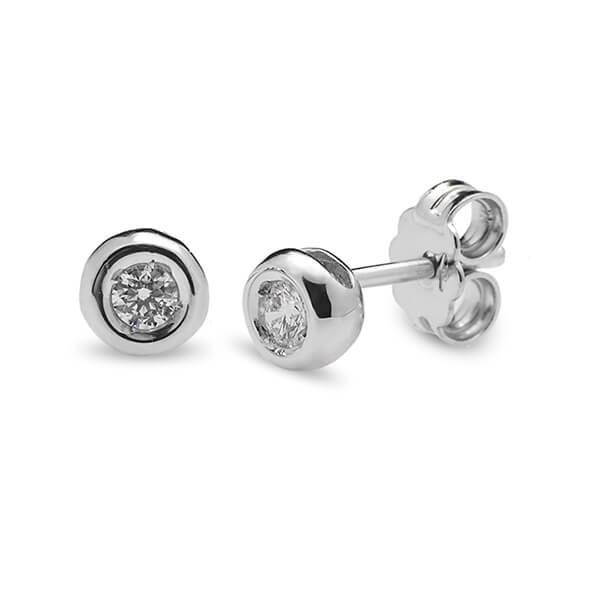 948365dfe967 Pendientes Pendiente Boton de oro blanco con Diamantes