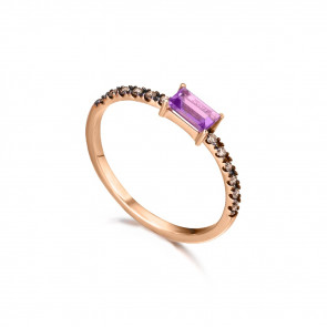 Anillo con Amatista y diamantes brown, fabricado en Oro Rosa 18k