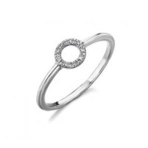 Anillo con círculo de diamantes Oro Blanco 18k