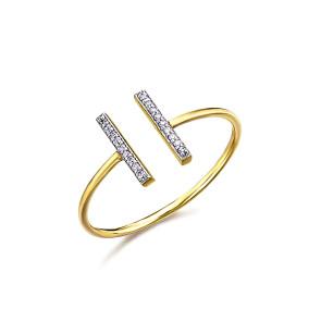 Anillo Dos Barras Oro y Diamantes