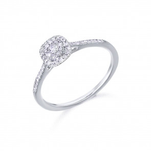 Anillo Oro Blanco Roseta y diamantes 0,19 Ctes