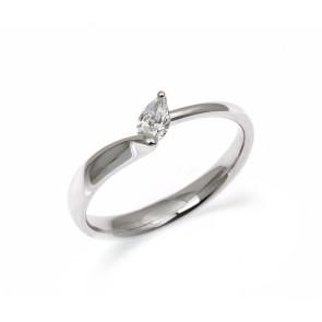 Anillo solitario con un diamante talla perilla de 0,19 ctes