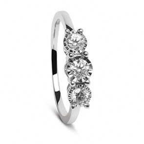Anillo Trilogi oro blanco y tres diamantes