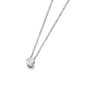 Colgante Diamante talla brillante de 0,050 quilates con Cadena de Oro Blanco de 18K