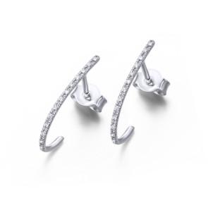Pendientes en forma de Aro alargado de Oro Blanco y Diamantes