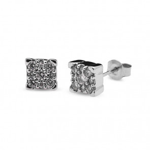 Pendientes oro blanco y diamantes 0,15 quilates