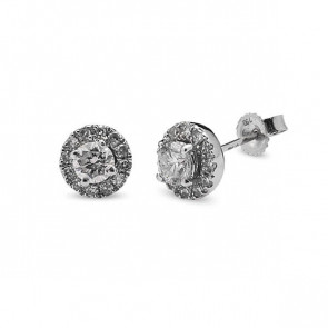 Pendientes oro blanco y diamantes 0,30 quilates