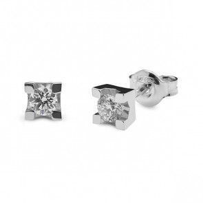 Pendientes oro blanco y diamantes (Total 0,40 quilates)