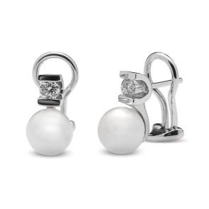 Pendientes perla cultivada y dos diamantes 0,35 Ctes