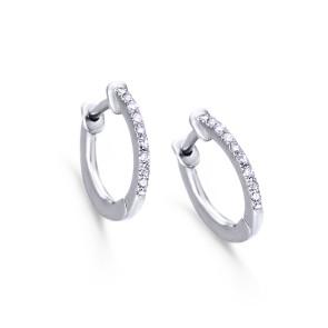 Pendientes Tipo Aro de Oro Blanco con Diamantes