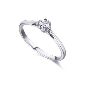 Solitario 6 garras Oro Blanco con Diamante