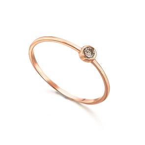Solitario Oro Rosa Diamante Brown